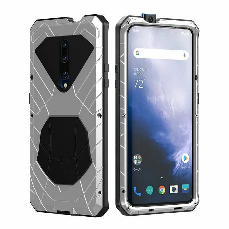 discount For OnePlus 7 Pro Luxury Metal Aluminum Phone Case Back Cover Silver