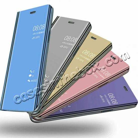 check out 6065d a7c44 For Samsung Galaxy A20E Case Clear View Mirror Leather Flip Stand Phone  Cover