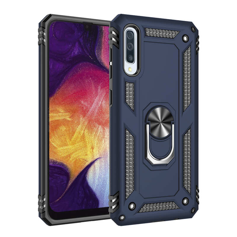 For Samsung Galaxy A50 Case Shockproof Hybrid Armor Ring Holder Stand Cover - Blue