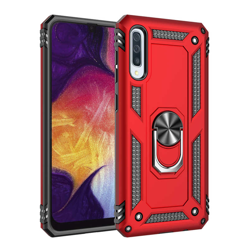 wholesale For Samsung Galaxy A50 Case Shockproof Hybrid Armor Ring Holder Stand Cover - Red