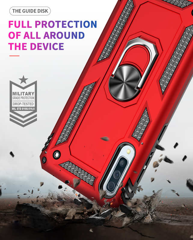 best price For Samsung Galaxy A50 Case Shockproof Hybrid Armor Ring Holder Stand Cover - Silver