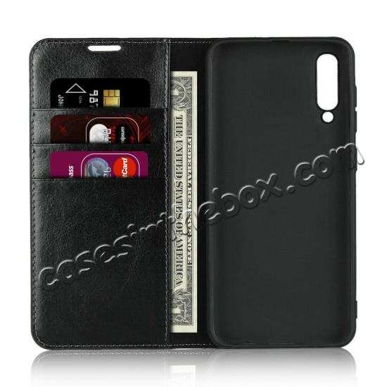 cheap For Samsung Galaxy S20 Ultra Plus S10 Plus A50 Genuine Leather Flip Card Slots Wallet Phone Case Cover