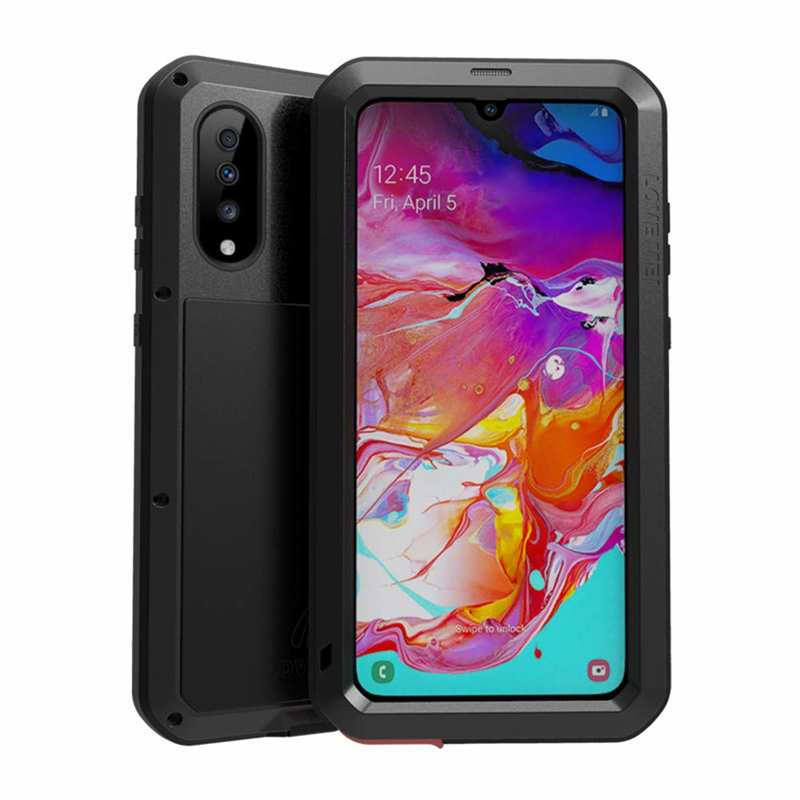 wholesale For Samsung Galaxy A70 Case Aluminum Metal Waterproof Shockproof Dustproof Cover Black