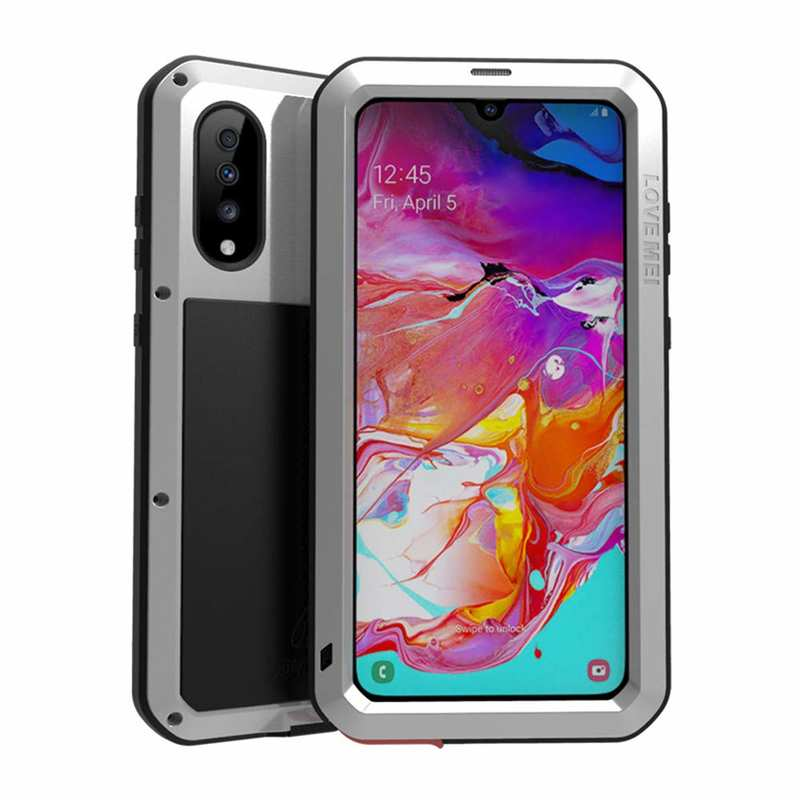 wholesale For Samsung Galaxy A70 Metal Aluminum Case Shockproof Heavy Duty Cover Silver