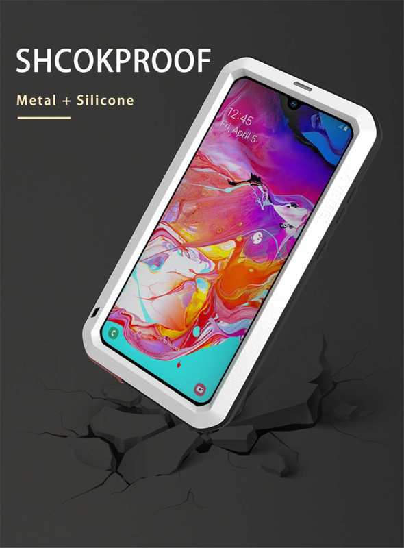 cheap For Samsung Galaxy A70 Metal Aluminum Case Shockproof Heavy Duty Cover Silver