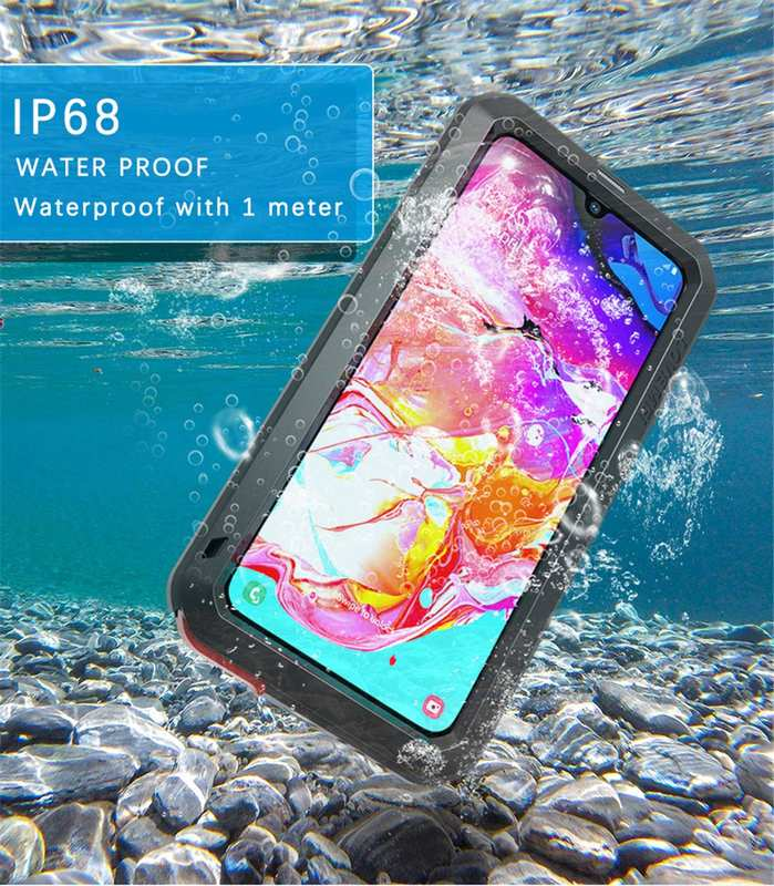 discount For Samsung Galaxy A70 Metal Aluminum Case Waterproof Shockproof Dustproof Cover Red