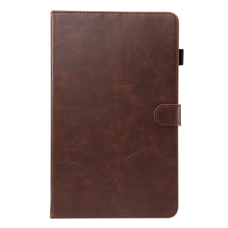 discount For Samsung Galaxy Tab A (2019) 10.1 SM-T510/T515 Crazy Horse Grain Leather Stand Flip Case - Dark Brown