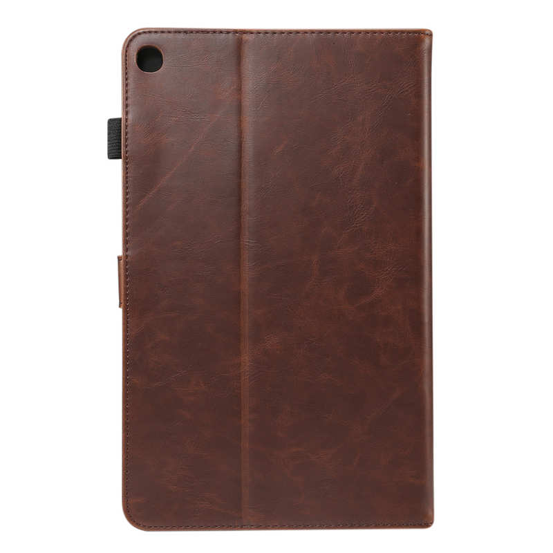 top quality For Samsung Galaxy Tab A (2019) 10.1 SM-T510/T515 Crazy Horse Grain Leather Stand Flip Case - Dark Brown