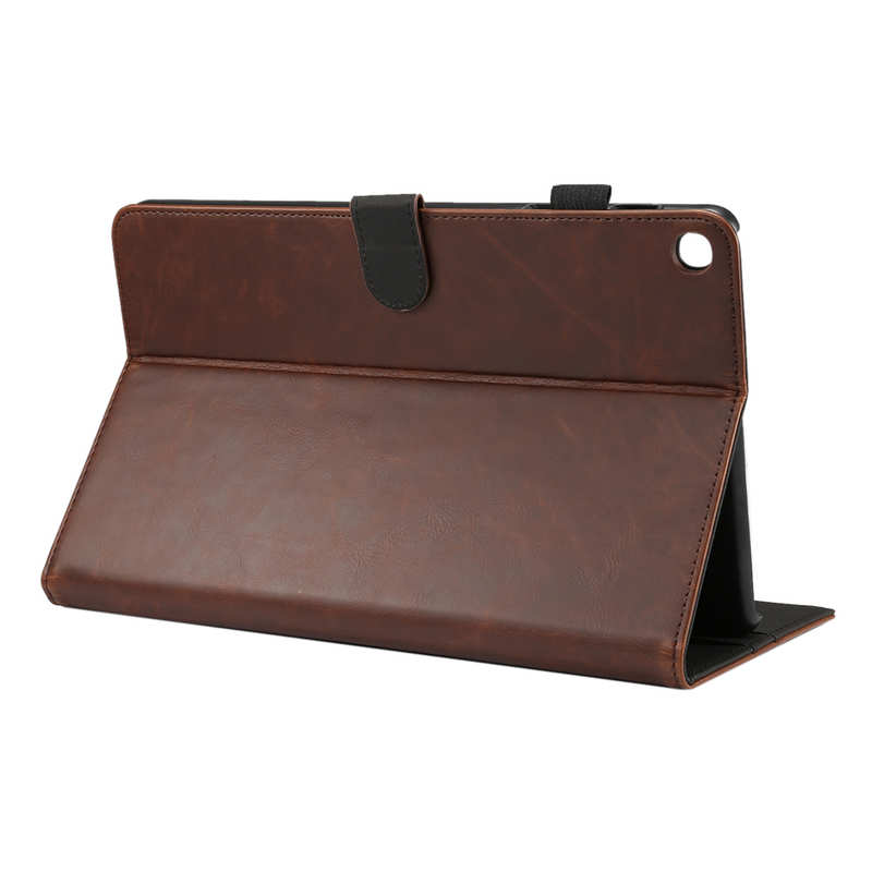 wholesale For Samsung Galaxy Tab A (2019) 10.1 SM-T510/T515 Crazy Horse Grain Leather Stand Flip Case - Dark Brown