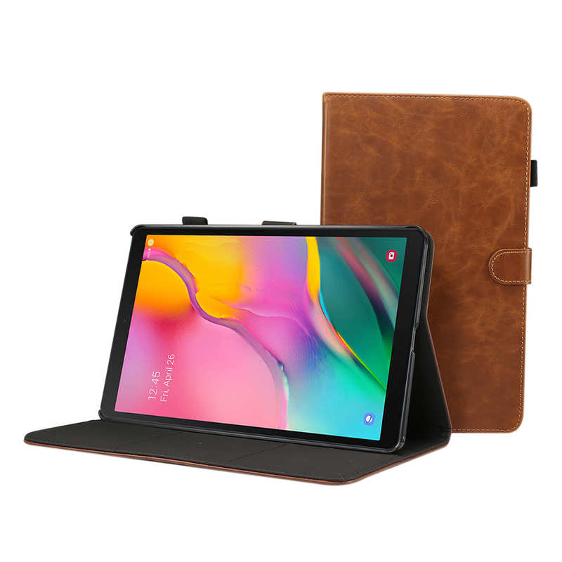 top quality For Samsung Galaxy Tab A (2019) 10.1 SM-T510/T515 Crazy Horse Grain Leather Stand Flip Case - Black