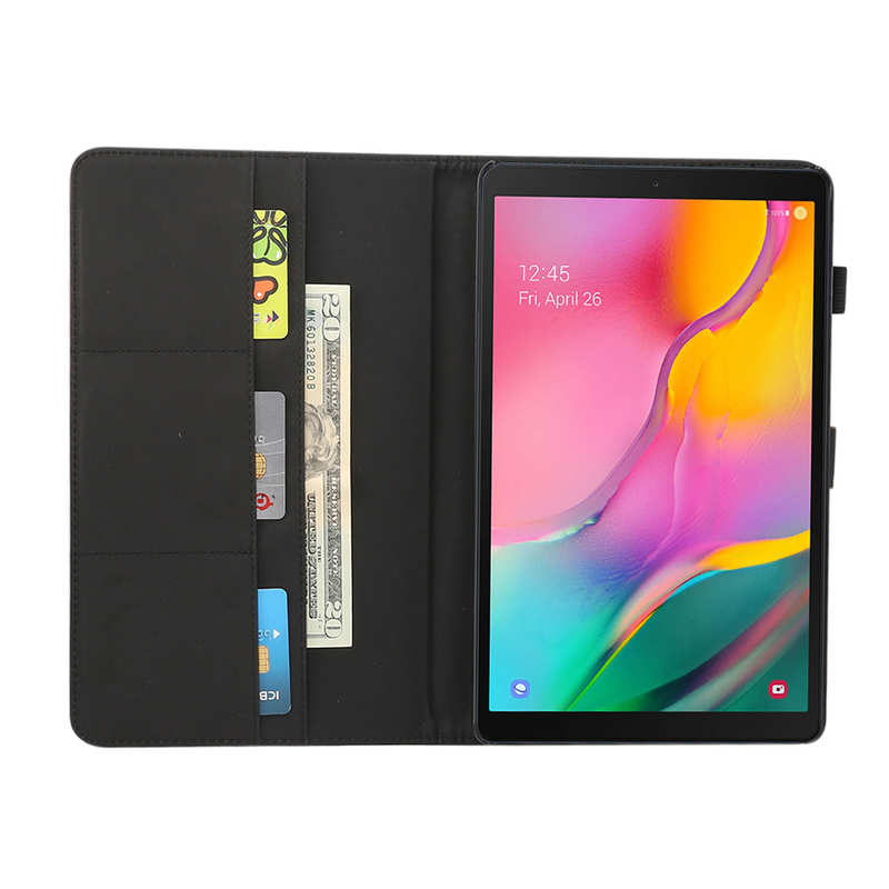 best price For Samsung Galaxy Tab A (2019) 10.1 SM-T510/T515 Crazy Horse Grain Leather Stand Flip Case - Black