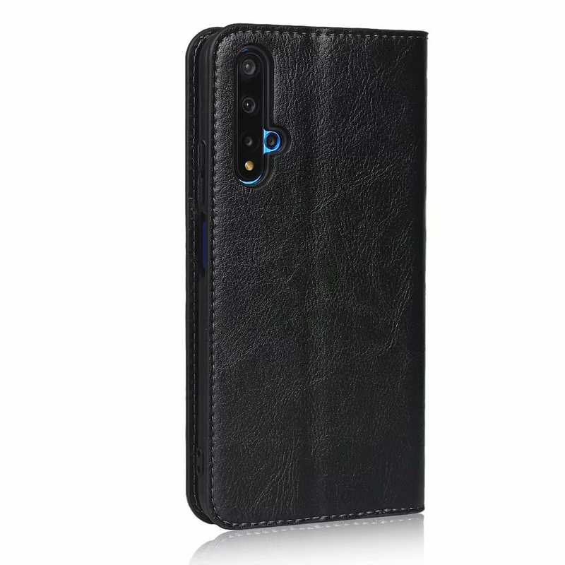 discount For Huawei Honor 20 Crazy Horse Wallet Flip Genuine Leather Case - Black