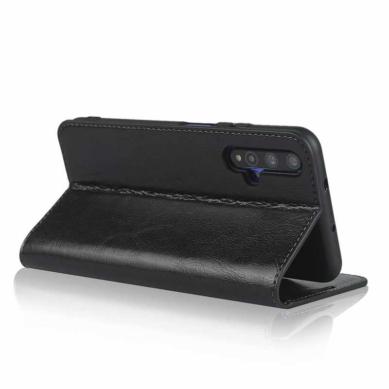 top quality For Huawei Honor 20 Crazy Horse Wallet Flip Genuine Leather Case - Black
