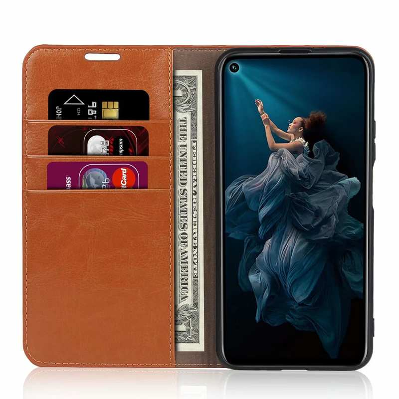 top quality For Huawei Honor 20 Crazy Horse Wallet Flip Genuine Leather Case - Brown