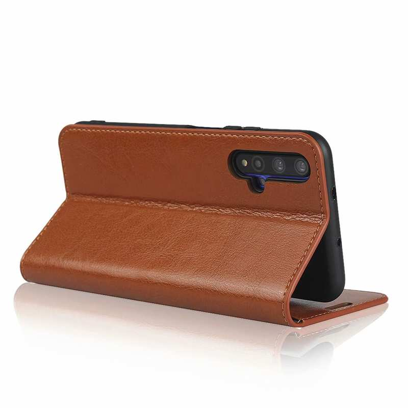 best price For Huawei Honor 20 Crazy Horse Wallet Flip Genuine Leather Case - Brown
