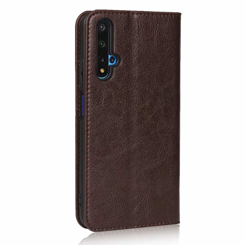 cheap For Huawei Honor 20 Crazy Horse Wallet Flip Genuine Leather Case - Dark Brown