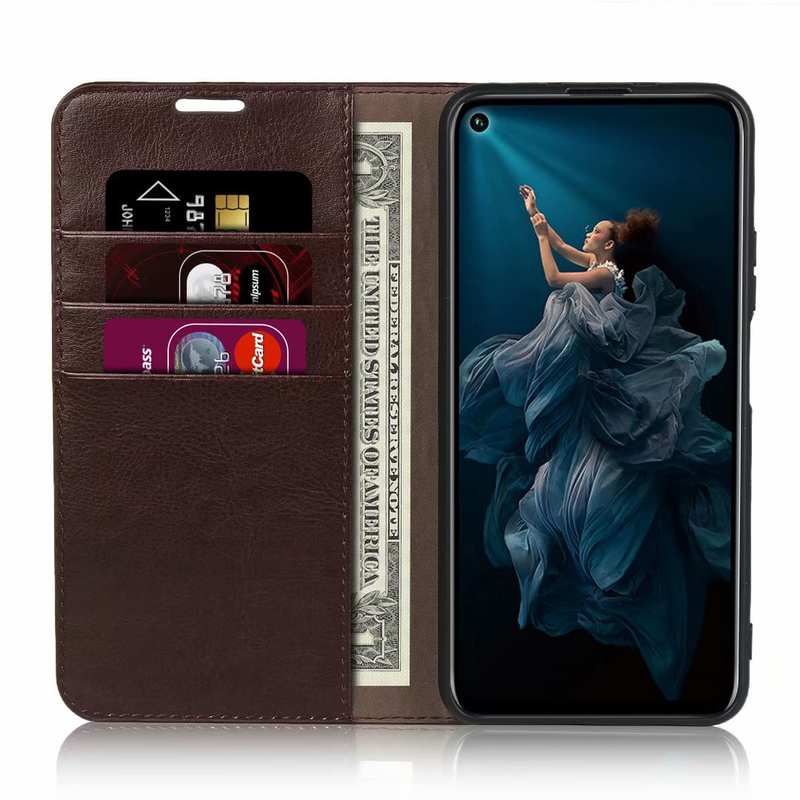 top quality For Huawei Honor 20 Crazy Horse Wallet Flip Genuine Leather Case - Dark Brown