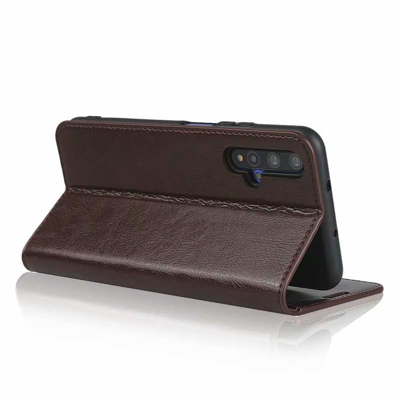 best price For Huawei Honor 20 Crazy Horse Wallet Flip Genuine Leather Case - Dark Brown