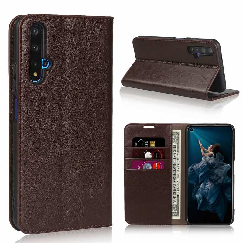 wholesale For Huawei Honor 20 Crazy Horse Wallet Flip Genuine Leather Case - Dark Brown