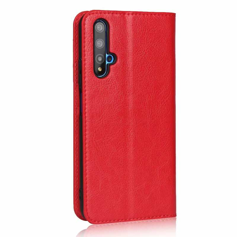 cheap For Huawei Honor 20 Crazy Horse Wallet Flip Genuine Leather Case - Red