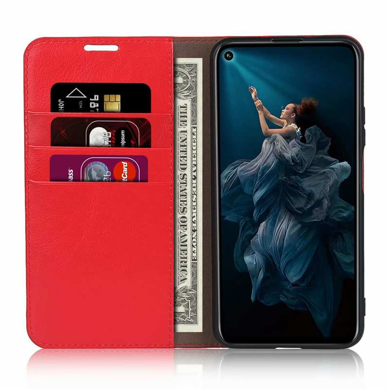 top quality For Huawei Honor 20 Crazy Horse Wallet Flip Genuine Leather Case - Red