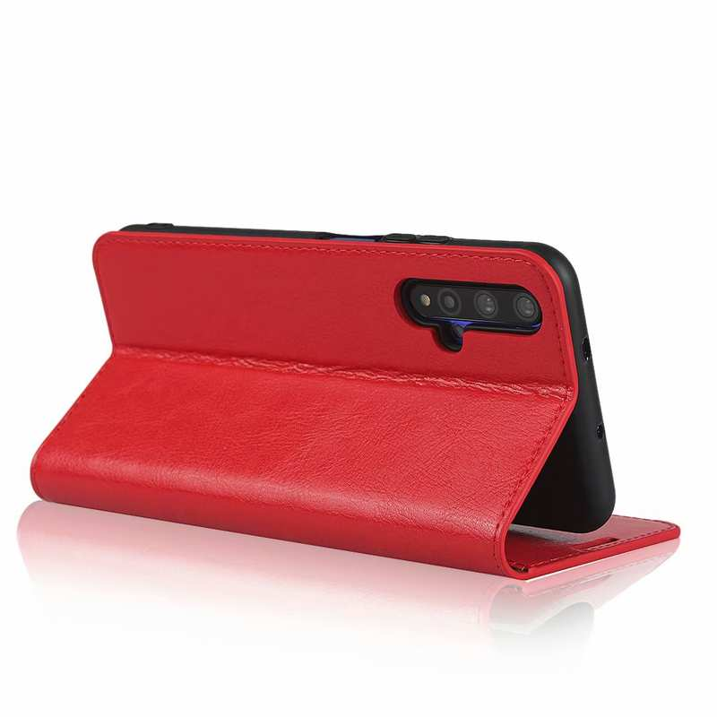 best price For Huawei Honor 20 Crazy Horse Wallet Flip Genuine Leather Case - Red