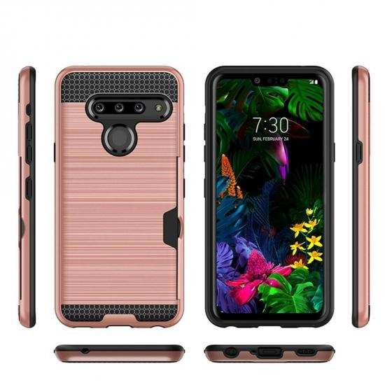 discount For LG G8s ThinQ Shockproof Brushed Card Holder Hard Case Cover