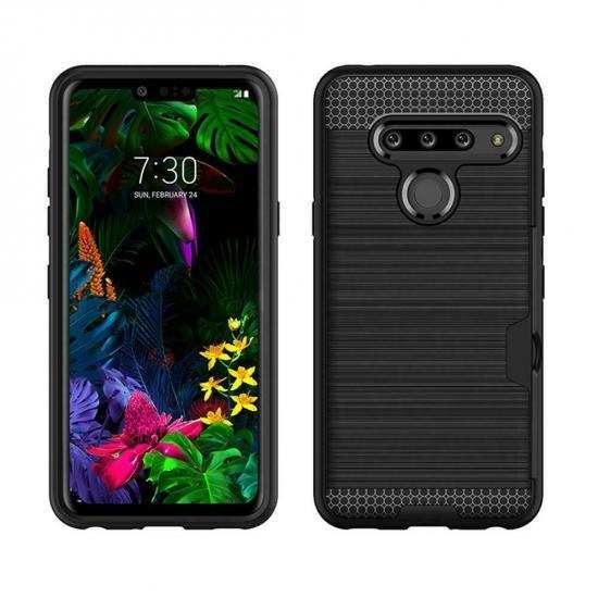 cheap For LG G8s ThinQ Shockproof Brushed Card Holder Hard Case Cover