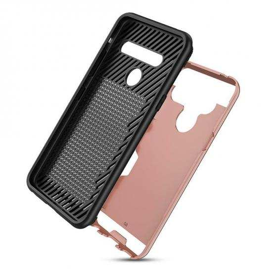 top quality For LG G8s ThinQ Shockproof Brushed Card Holder Hard Case Cover