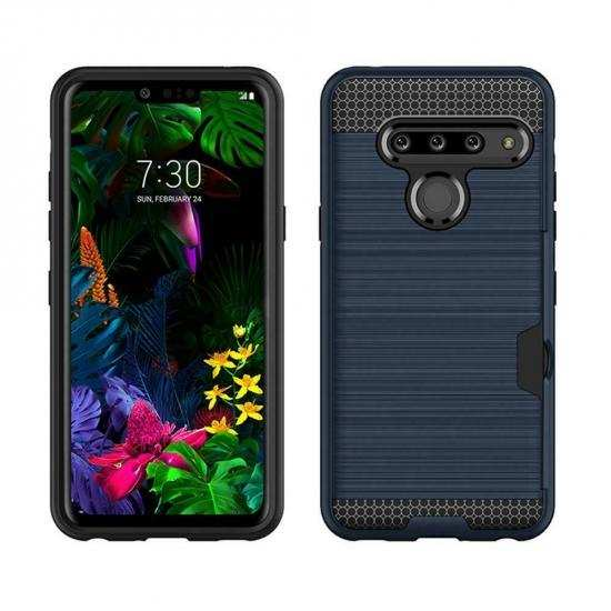 best price For LG G8s ThinQ Shockproof Brushed Card Holder Hard Case Cover