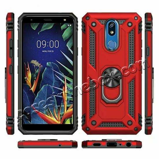 discount For LG K40 / K12 Plus / X4 2019 Magnetic Ring Holder Stand Hybrid Case Cover