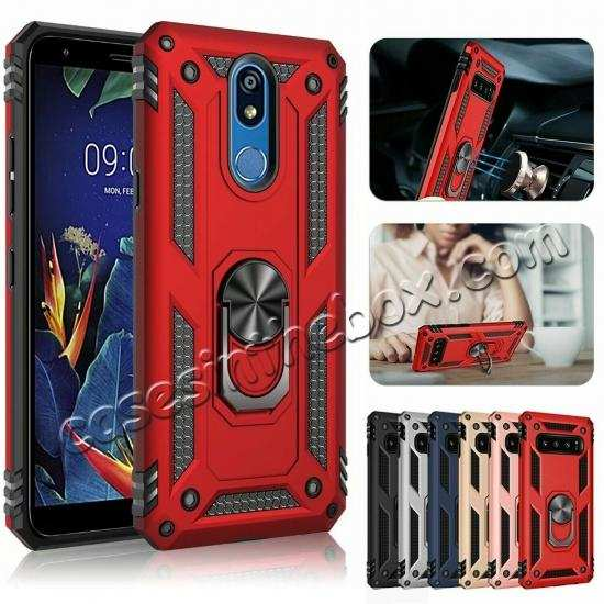 wholesale For LG K40 / K12 Plus / X4 2019 Magnetic Ring Holder Stand Hybrid Case Cover