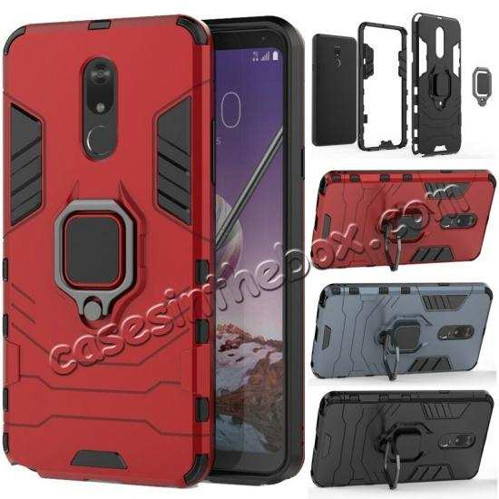 discount For LG Stylo 5/5 Plus Shockproof Armor Hybrid Ring Stand Rubber TPU Case Cover