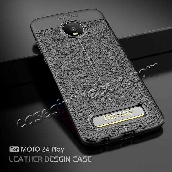 wholesale For Motorola Moto Z4, Anti-Skid Shockproof Case Tpu Soft Leather Cover