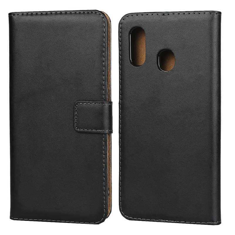 discount For Samsung Galaxy A30 - Genuine Leather Card Slots Wallet Case Cover Black
