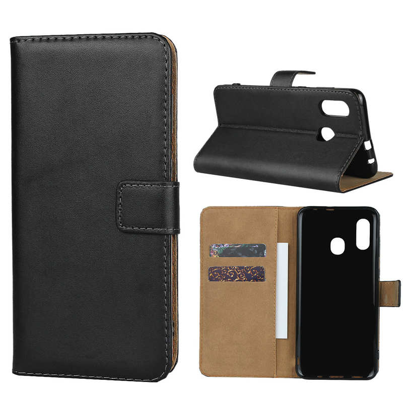 wholesale For Samsung Galaxy A30 - Genuine Leather Card Slots Wallet Case Cover Black