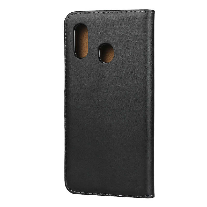 cheap For Samsung Galaxy A30 - Genuine Leather Card Slots Wallet Case Cover Black