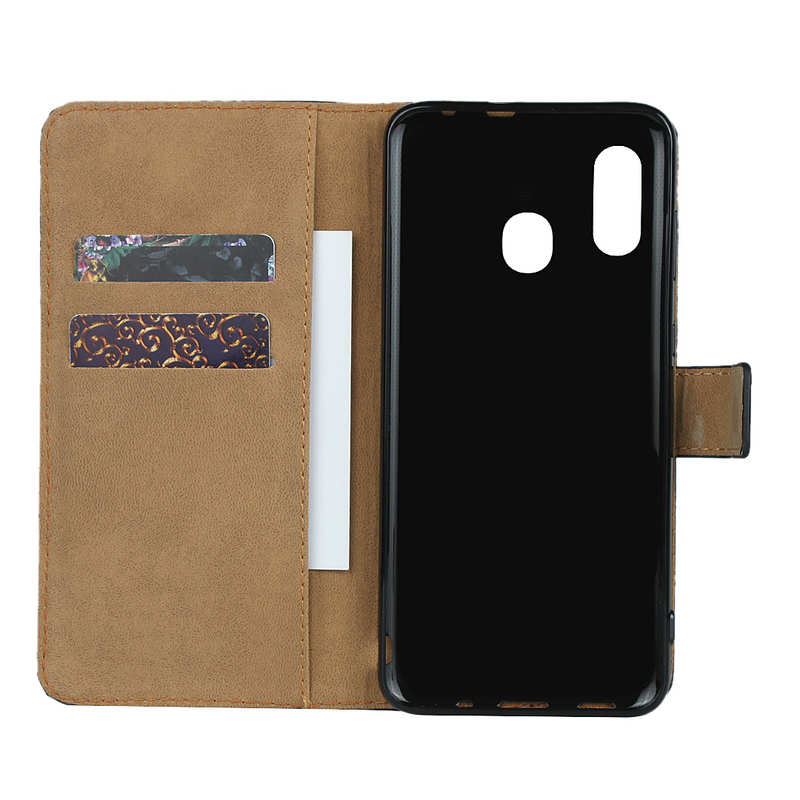 top quality For Samsung Galaxy A30 - Genuine Leather Card Slots Wallet Case Cover Black