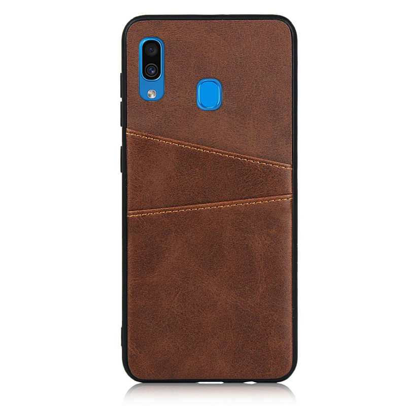 discount For Samsung Galaxy A30 Shockproof Wallet Card Holder Case Cover - Dark Brown
