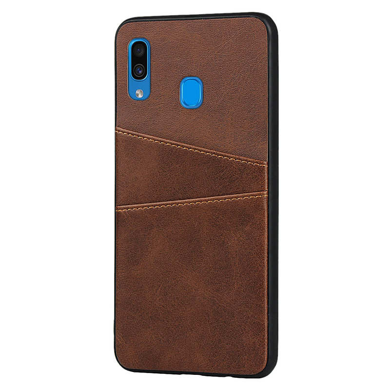 cheap For Samsung Galaxy A30 Shockproof Wallet Card Holder Case Cover - Dark Brown
