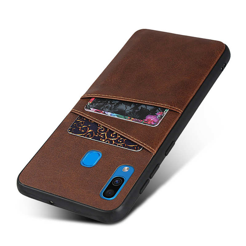 top quality For Samsung Galaxy A30 Shockproof Wallet Card Holder Case Cover - Dark Brown