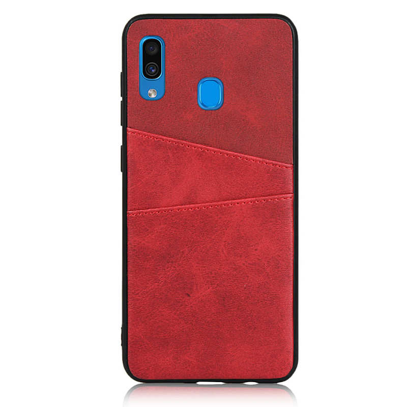 discount For Samsung Galaxy A30 Shockproof Wallet Card Holder Case Cover - Red