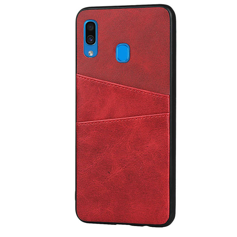cheap For Samsung Galaxy A30 Shockproof Wallet Card Holder Case Cover - Red