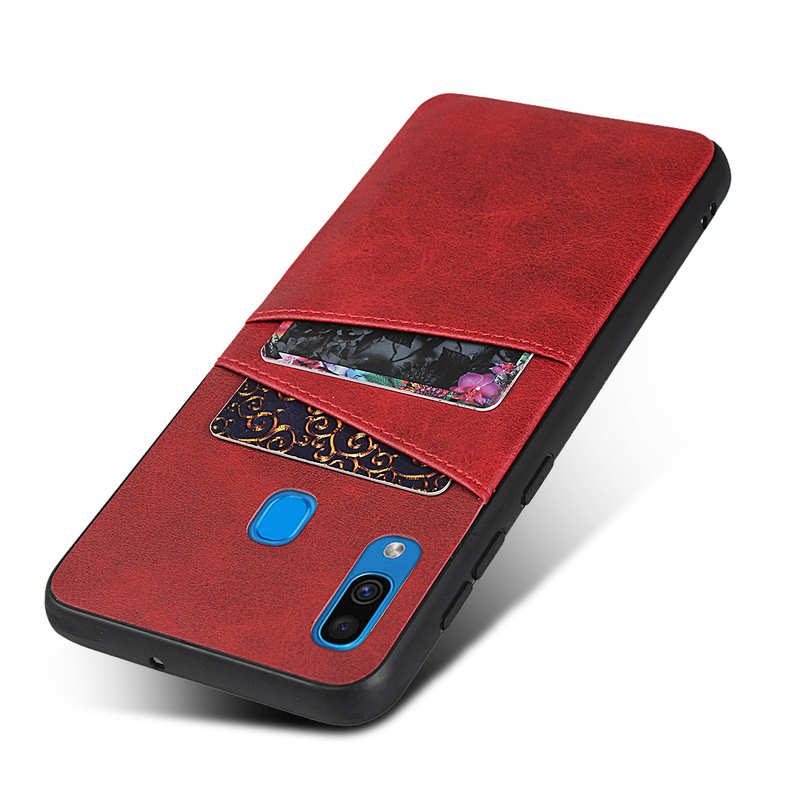 top quality For Samsung Galaxy A30 Shockproof Wallet Card Holder Case Cover - Red