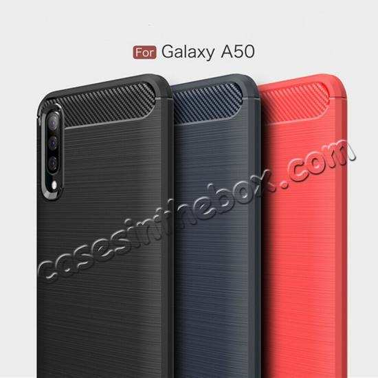 wholesale For Samsung Galaxy A50 Shockproof Rubber Carbon Fiber Soft Case Cover