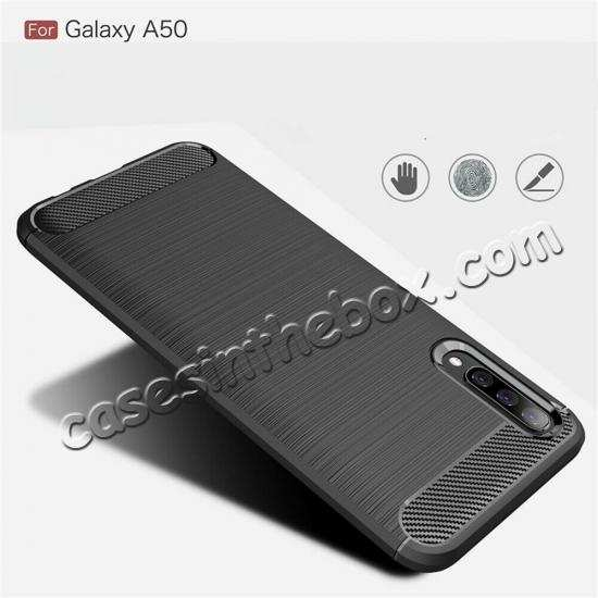discount For Samsung Galaxy A50 Shockproof Rubber Carbon Fiber Soft Case Cover