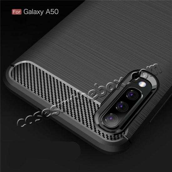 cheap For Samsung Galaxy A50 Shockproof Rubber Carbon Fiber Soft Case Cover