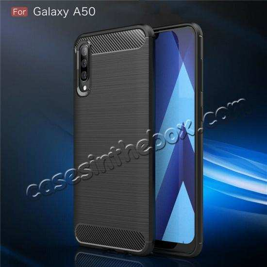 top quality For Samsung Galaxy A50 Shockproof Rubber Carbon Fiber Soft Case Cover
