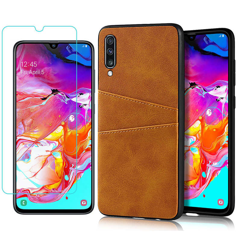 wholesale For Samsung Galaxy A70 Leather Wallet Card Holder Case Cover+Screen Protector - Brown