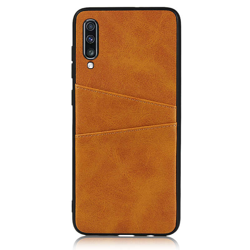 discount For Samsung Galaxy A70 Leather Wallet Card Holder Case Cover+Screen Protector - Brown